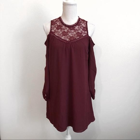 d7e2f199d686d Burgundy cold shoulder baby doll dress